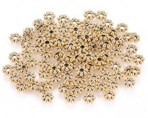Metallperlen, Spacer Rondellen, Gänseblumen, antik goldfarbig, 4mm, 100 Perlen