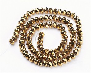 Glasschliffperlen, Rondellen facettiert, 4mm, gold, 100 Stk.