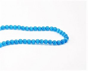 Katzenaugen Glasperlen, Cats Eye Perlen, 6 mm, rund, blau, 1 Strang
