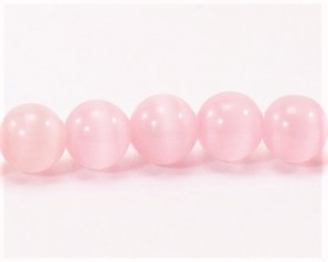 Katzenaugen Glasperlen, 6 mm, rund, rosa, 1 Strang