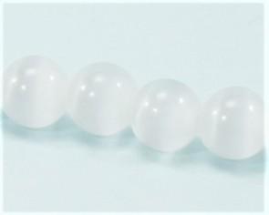 Katzenaugen Glasperlen, 6 mm, rund, weiss, 1 Strang