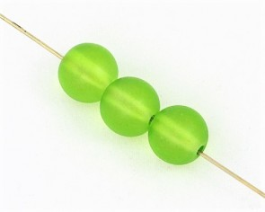 Gefrostete Glasperlen, 10 mm, rund, matt grün satiniert