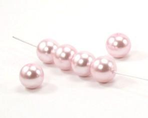 Glasperlen, Glaswachsperlen 10 mm, rund, rosa, 40 Perlen