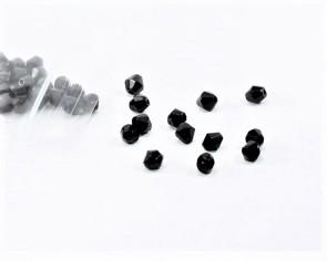 Glasschliffperlen, 4 mm, Bicones, schwarz, 50 Perlen