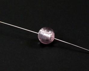 Glasperlen mit Silberfolie, 12mm, rund, rosa, 15 Perlen