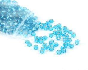 Rocailles Perlen, Saatperlen, 4 mm, Silbereinzug, hell-türkis, 20 g