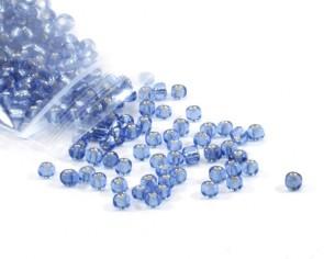 Rocailles Perlen, Saatperlen, 4 mm, Silbereinzug, hellblau, 20 g