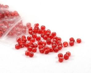 Rocailles Perlen, Saatperlen, 4 mm, Silbereinzug, rot, 20 g