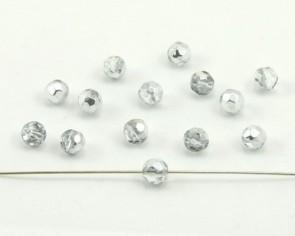 Glasschliffperlen, facettierte Glasperlen 6 mm, rund, kristall / silber, 50 Perlen