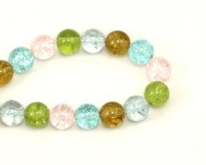 Crackle Glasperlen, 9-10 mm, rund, bunt gemischt, 1 Strang