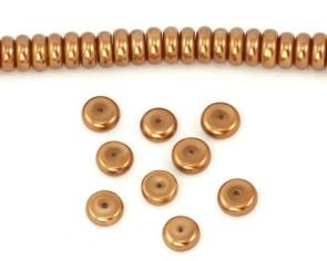 Glaswachsperlen, 8 x 3 mm, Rondelle, Button, bronze, 50 Stk.