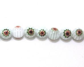 Millefiori Glasperlen, 10 mm, rund, weiss-grün-rot-blau, 1 Strang