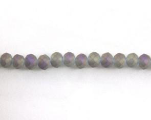 Glasschliffperlen, Glasrondellen facettiert, 4mm, matt grau-violett iris, 145 Perlen