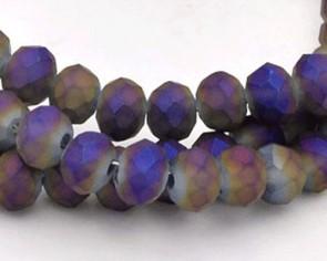 Glasschliffperlen, Rondellen facettiert, 4mm, matt grau-violett iris, 1 Strang