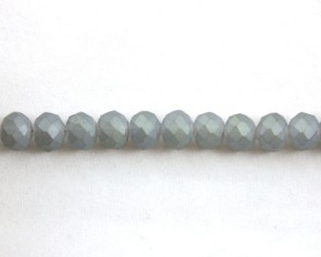 Glasschliffperlen, facettierte Glasrondellen, 8 mm, stahlblau seidenmatt, 70 Perlen