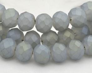 Glasschliffperlen, Rondellen fac., 8mm, stahlblau-grau seidenmatt, 1 Strang