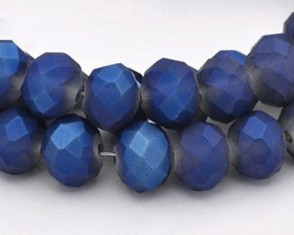 Glasschliffperlen, Rondellen facettiert, 4mm, royalblau seidenmatt, 1 Strang