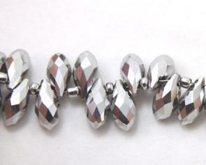 Beschichtete Glasschliffperlen, Glasperlen Tropfen facettiert, 12 x 6 mm, versilbert, 10 Perlen