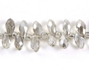 Beschichtete Glasschliffperlen, Glasperlen Tropfen facettiert, 12x6mm, silber-grau mit Lüster, 10 Perlen