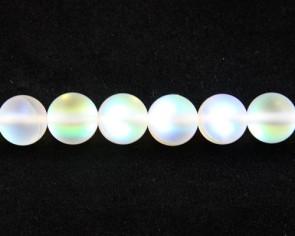 Gefrostete Mondstein Perlen Imitation, Glas, 8mm, rund, matt weiss iris, 1 Perlenstrang