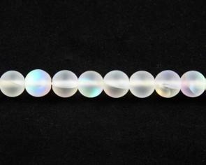 Gefrostete Mondstein Perlen Imitation, Glas, 6mm, rund, matt weiss iris, 1 Perlenstrang