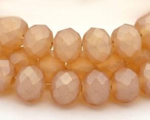 Glasschliffperlen, Rondellen facettiert, 4mm, apricot seidenmatt, 1 Strang