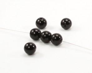 Glasperlen, Glaswachsperlen, 4 mm, rund, schwarz, 100 Perlen