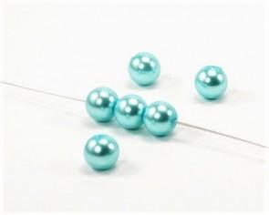 Glasperlen, Glaswachsperlen, 4 mm, rund, türkis, 100 Perlen