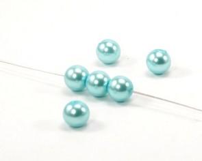 Glaswachsperlen, 6 mm, rund, hellblau / türkis, 50 Glasperlen