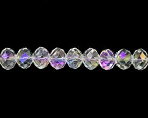 Glasschliffperlen, Glas-Rondellen facettiert, 4mm, kristall transparent AB, 100 Perlen