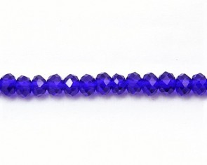 Glasschliffperlen, Glas-Rondellen facettiert, 4mm, royalblau mit Lüster, 100 Perlen