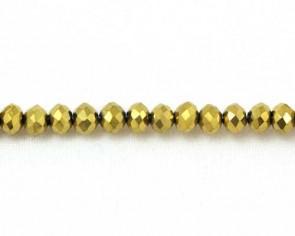 Glasschliffperlen, Glas-Rondellen facettiert, 4mm, gold, 100 Perlen
