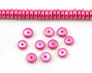 Glaswachsperlen, 8 x 3 mm, Rondellen, Button, fuchsia rot, 50 Perlen