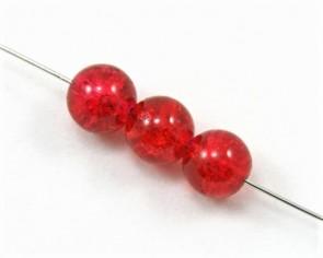 Crackle Glasperlen, Crashperlen, 8mm, rund, rot, 50 Perlen