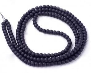 Gefrostete Glasperlen, 10mm, rund, matt schwarz, Strang
