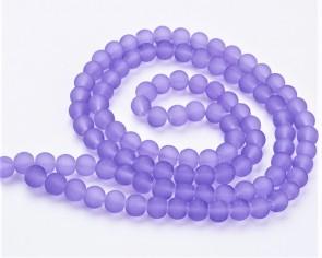 Gefrostete Glasperlen, 10mm, rund, matt lila transparent, 40 Perlen