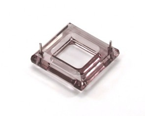 Acrylperlen Zwischenteil transparent Quadrat facettiert 29x29mm braun 6Stk