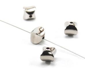 Metallic CCB Perlen, eckig, silber, 11x11x11mm, 15 Perlen