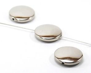 Metallic CCB Perlen, Scheiben, silber, ø 20 mm, 10 Bastelperlen