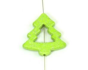 Acrylperlen, Weihnachtsbaum, 40 mm, grün mit Glitter, 6 Perlen