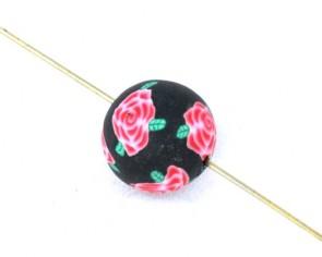 Polymer Clay Perlen, Fimo Perlen rund, schwarz mit Rose, 12mm, 20Stk.