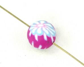 Polymer Clay Perlen, Fimo Perlen, rund, pink  Blume, 12mm, 20 Perlen