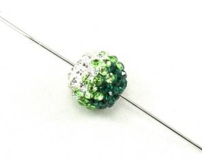 Strass-Perlen, Shamballa Perlen, rund, grün-weiss, 12mm, 1 Perle