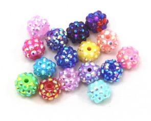 Bastelperlen, Resin Strass Perlen, rund, 8x10mm, Farbmix, 20 Perlen