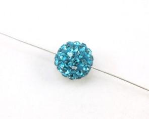 Strassperlen, Shamballa Perlen, rund, dunkel türkis, 10 mm, 3 Perlen