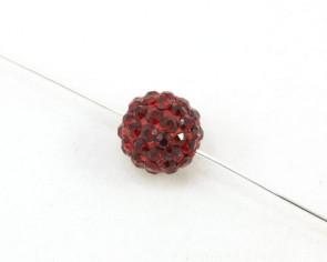 Strassperlen, Shamballa Perlen, rund, rot, 10 mm, 3 Strasskugeln