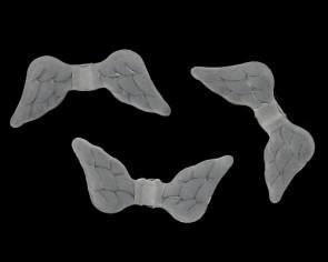 Engelsflügel Perlen, Acrylperlen, 9 x 20 mm, matt weiss, 50 Flügelperlen