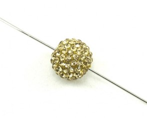 Strassperlen, Shamballa Perlen, rund, gold, 10 mm, 3 Strasskugeln