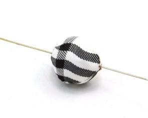 Textilperlen, rund, 20mm, Tartan weiss-schwarz-rot, 5 Perlen