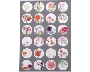 Cabochons Vorlagen 18mm, Blumen-Motive für Vintage Schmuck, rund, 1 Bogen